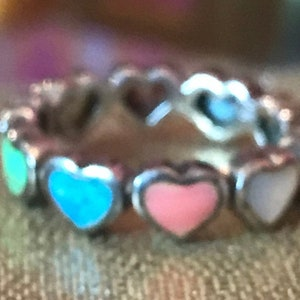Multi Stone Sterling Heart Ring Sz 7 Pink Red Coral Lapis Gaspeite Pearl MOP 925 Silver Band Vintage Jewelry Christmas Birthday Gift Bridal