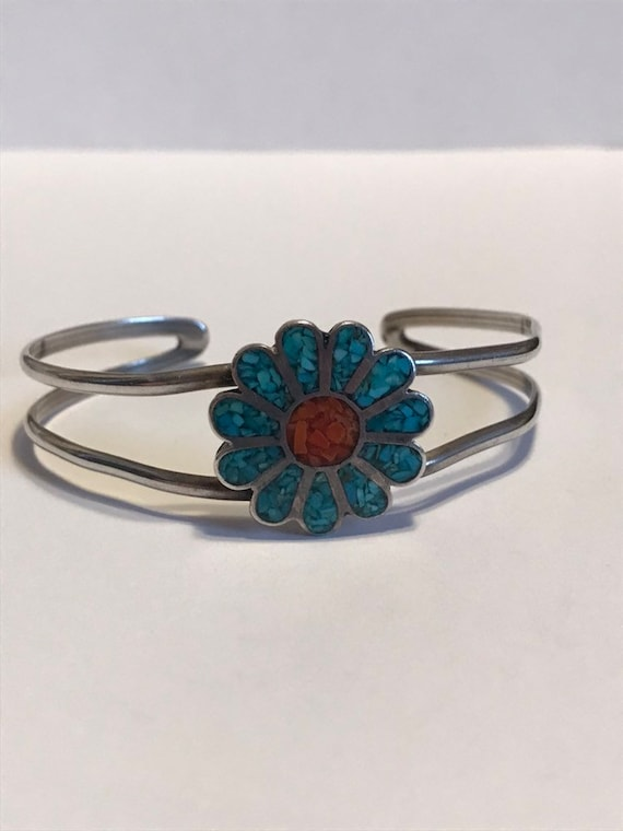 ON SALE Navajo Turquoise Red Coral Sterling Cuff Bracelet 925 Silver Flower Leaf Vintage Jewelry Southwestern Tribal Native Birthday Christm