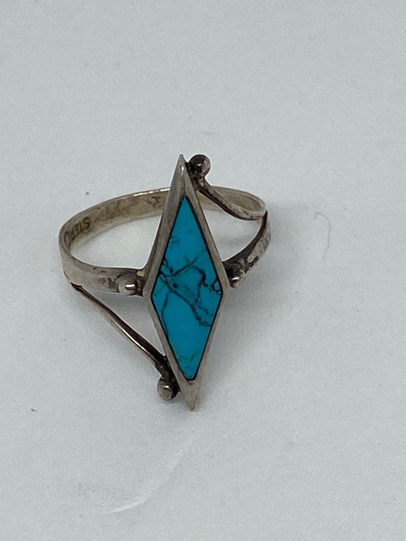 Navajo Turquoise Sterling Ring Sz 5 Silver Cloud 925 Blue Vintage Jewelry Southwestern Native Christmas Anniversary Birthday Gift Tribal