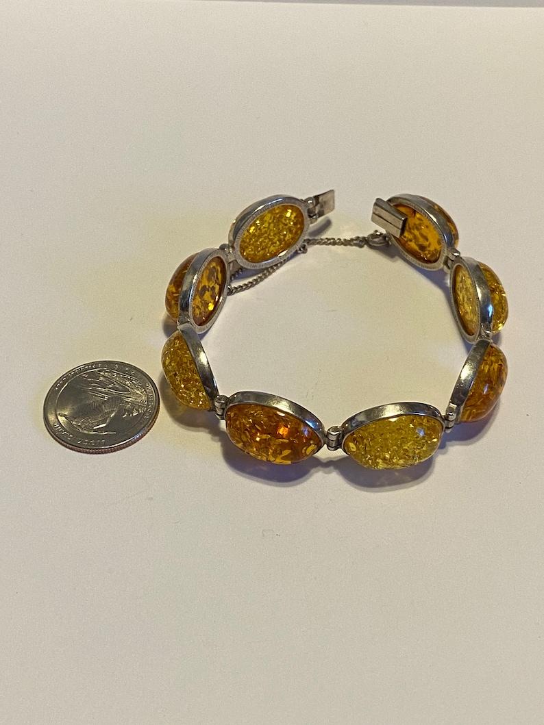 Baltic Amber Sterling Bracelet 7.5 Valerio Honey Polish Poland 925 Silver Vintage Jewelry Southwestern Anniversary Christmas Birthday Gift
