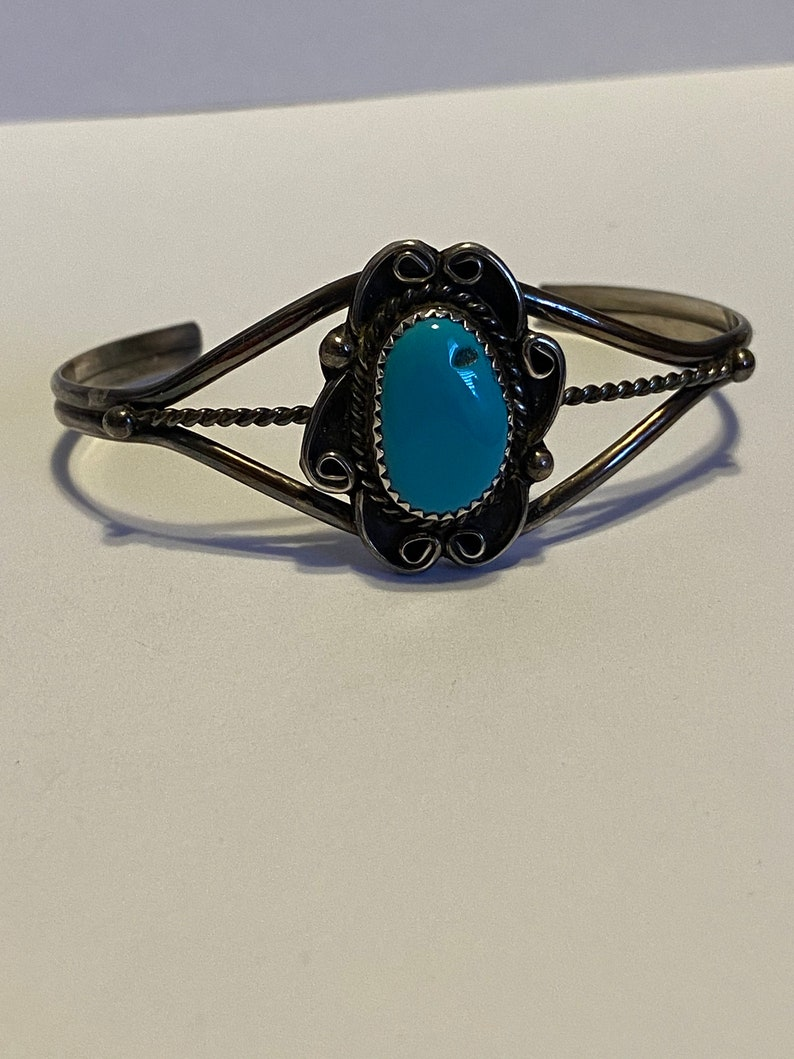 Fred Harvey Era Turquoise Sterling Cuff Bracelet 925 Silver Vintage Southwestern Jewelry Native Birthday Christmas Holiday Anniversary Gift
