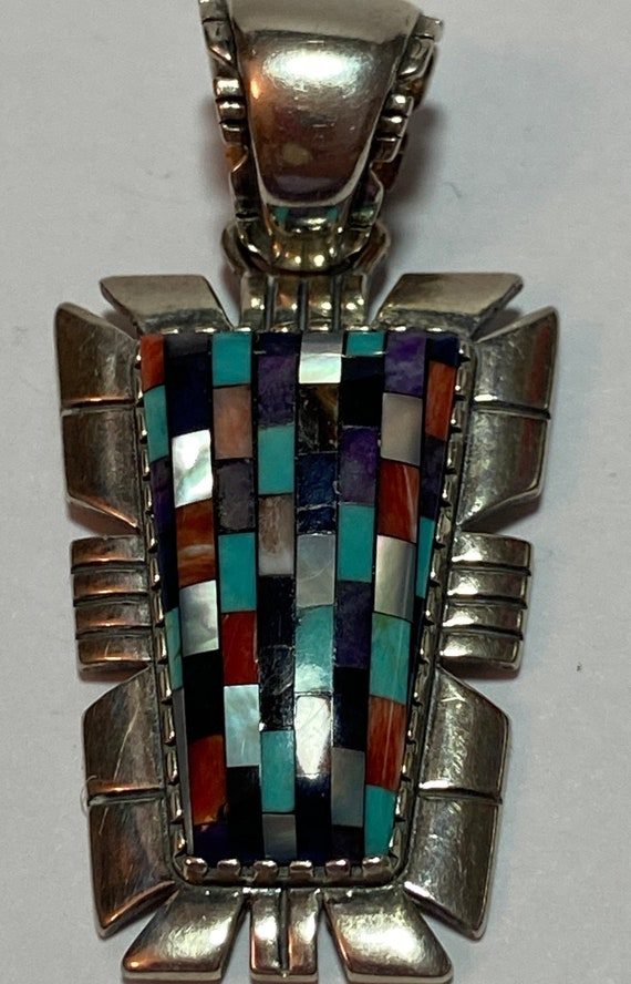 Navajo Sleeping Beauty Turquoise Opal Sterling Pendant Lapis Malachite Spiny Oyster Onyx Multi Stone 925 Silver Vintage Jewelry Native Gift
