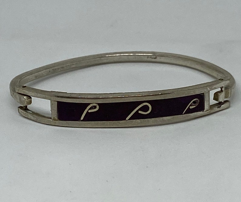 Sugilite Sterling Bracelet Bangle Hinged 925 Silver Symbols Mexico Mexican Cuff Vintage Jewelry Anniversary Birthday Christmas Gift Boho
