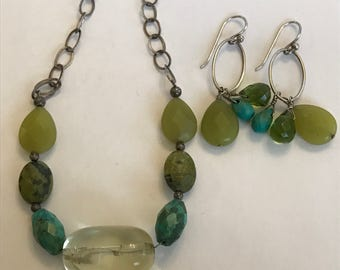 """Barse Multi Stone Sterling Necklace Earrings Set Turquoise Citrine Peridot Variscite 925 Silver Adjustable 18.25"""" Vintage Jewelry Boho Gift"""