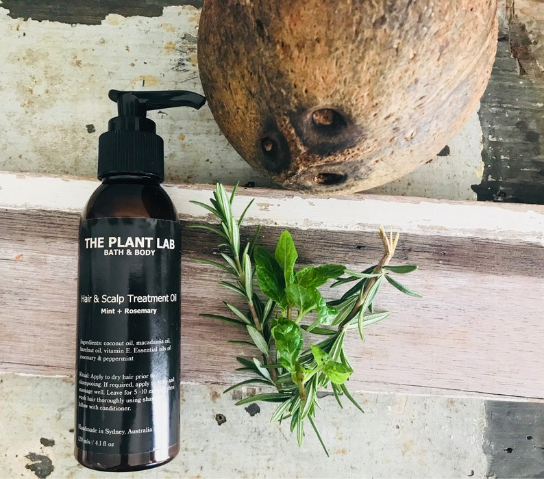 Hair Oil  Luxury Treatment For Dry Hair & Scalp  Rosemary Peppermint  Essential Oil Infusion  Vegan  No Palm Oil