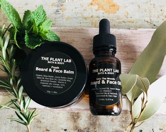 Beard Face Balm and Beard Face Oil Gift Set. Men's Skincare. All Natural, Plant-Based, Vegan Skincare. Scented or Unscented. Gift For Him