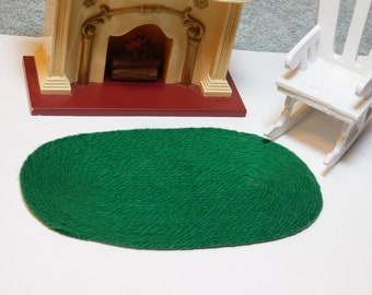 """OVAL WOVEN RUG 6/"""" X 8 1//2/"""" DOLL HOUSE FURNITURE"""