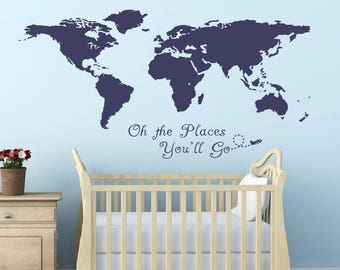 World map decal etsy oh the places you go world map sticker decals home decor art cool wall decals stick on wall art by decalisland realistic world map sd 017 gumiabroncs Image collections
