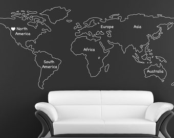 World Map Wall Decal Vinyl Wall Sticker Decals Home Decor Art Etsy