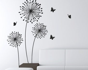 Modern flower wall decals for walls stickers for walls etsy mightylinksfo