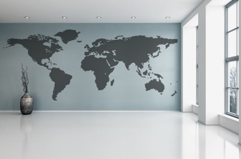 World Map Wall Decal Vinyl Wall Sticker Decals Home Decor Art Etsy