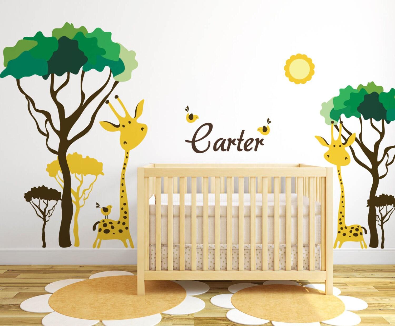 Baby Nursery Ideas Safari Giraffe and Birds Decals for Walls   Etsy