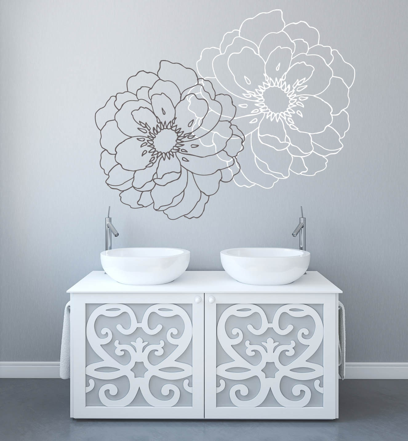 Modern flower wall decals for walls stickers for walls etsy