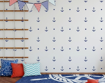 Anchor decal, nautical wall decal, anchor decals, anchor wall decals, nautical pattern, nautical wall decals, 091