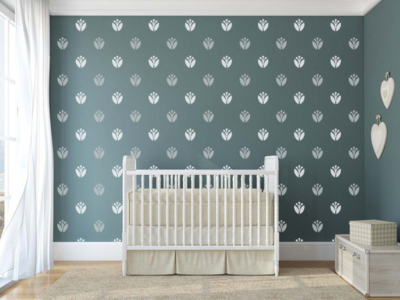 pattern vinyl art tulip wall pattern decals for baby nursery | etsy