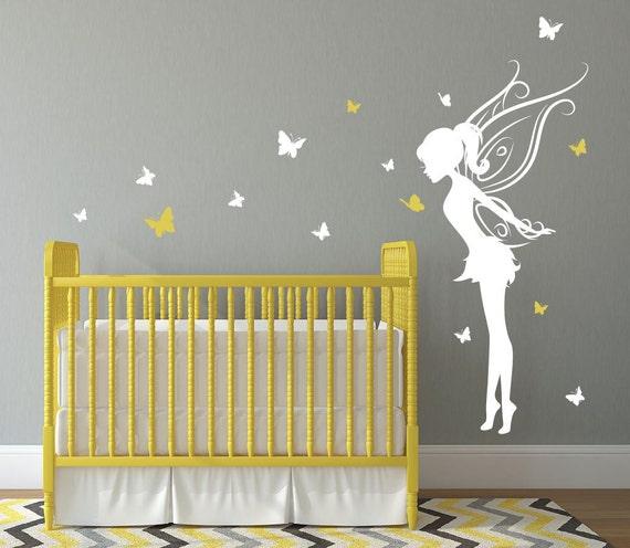 baby girl room decor fairy wall decal w/ butterflies vinyl | etsy