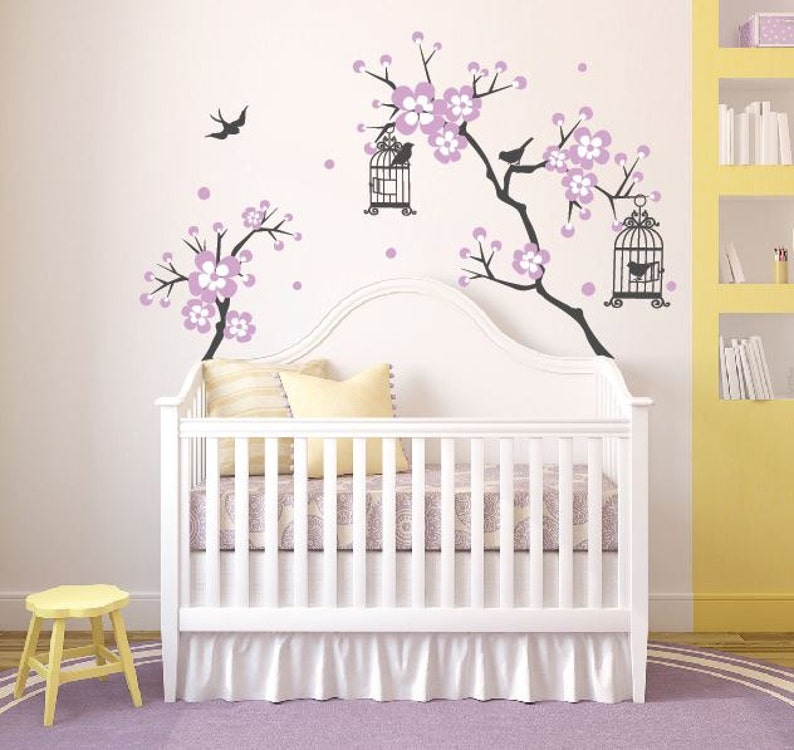 baby girl room decor cherry blossom tree wal decal wall decals | etsy