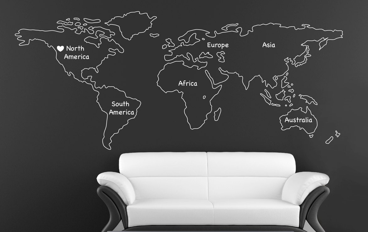Outlined World Map Decal With Continents Vinyl Wall Sticker Etsy