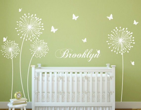 dandelion wall decal with butterflies wall sticker decals home | etsy