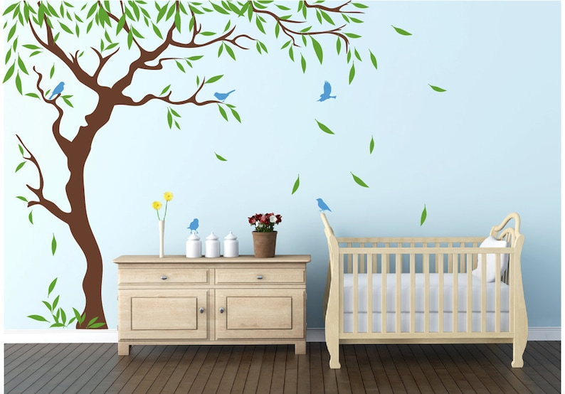 nursery tree birds and flying leaves decal ideas stick on wall | etsy