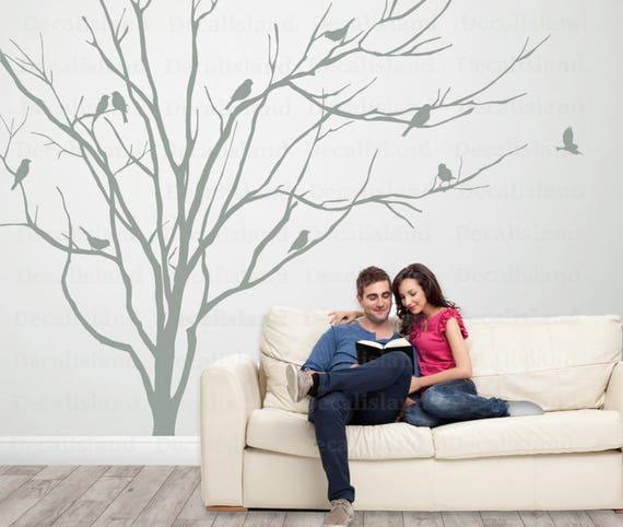 Realistische Winter Baum Mit Vogeln Wand Aufkleber Kopfteil Etsy