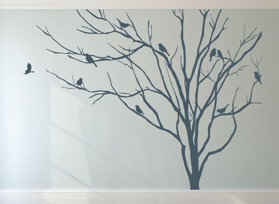 Wall And Window Decals Realistic Winter Tree Stick On Wall