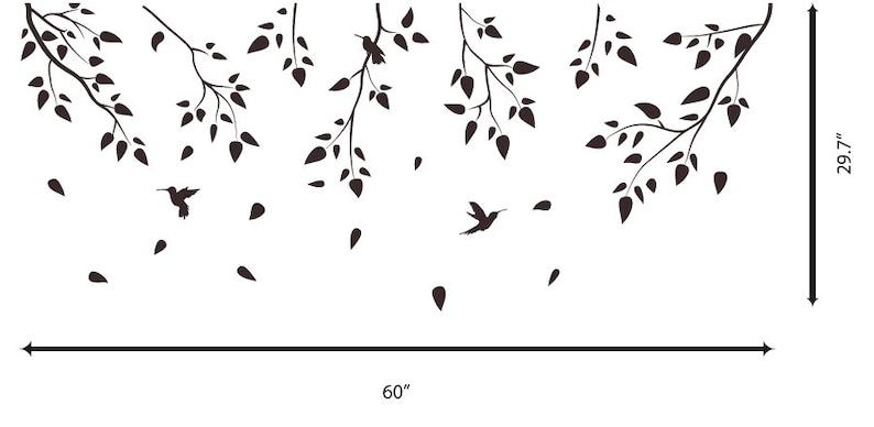 Vinyl Art Tree Branch with birds Birch tree wall decal Wall Sticker Decals Home Decor Art by DecalIsland Tree Branch with birds SD 005