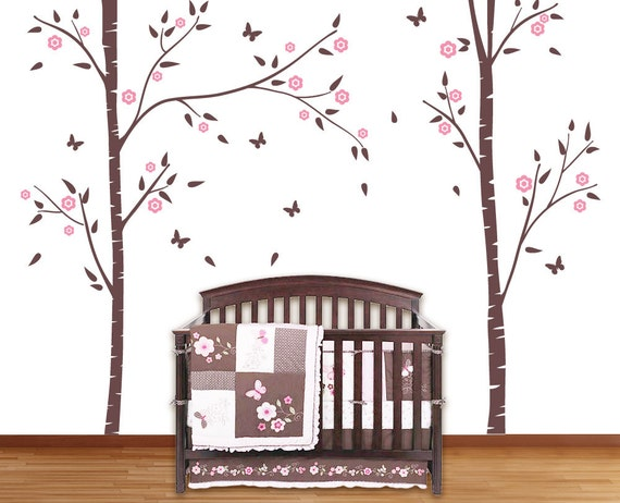 birch trees for nursery room with butterflies wall stickers | etsy