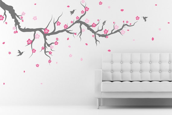 Cerezo Flor De Etiqueta De La Pared De árbol Con Los Pájaros Etsy