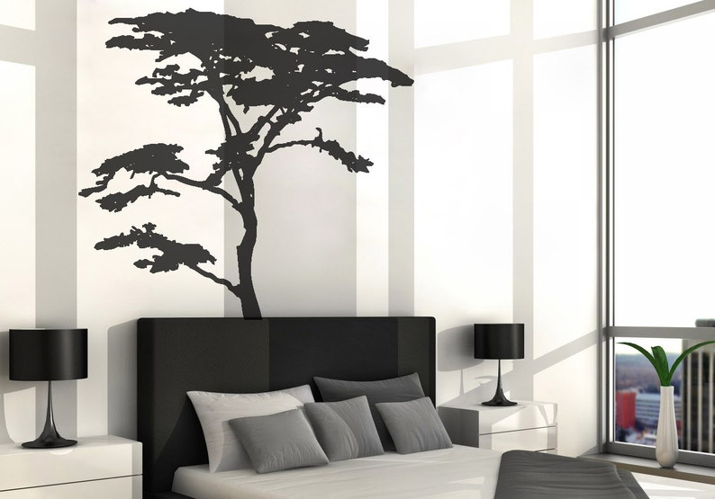 vinyl art decal realistic african tree wall sticker decals | etsy