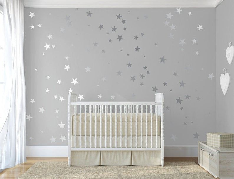 silver confetti stars stick on wall art silver vinyl wall | etsy
