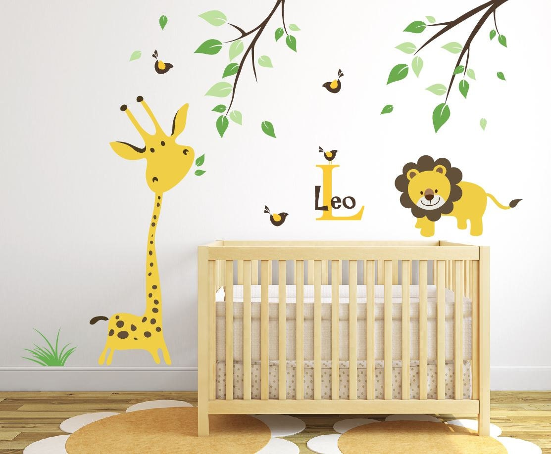 Giraffe Wall Decal Jungle Safari Wall Decal Baby Nursery Ideas | Etsy
