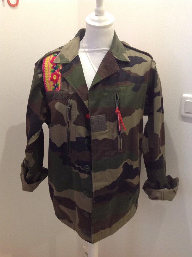 Etsy Camouflage Militaire Veste Fleurs Customisee Jaune Rose Et PTywU0