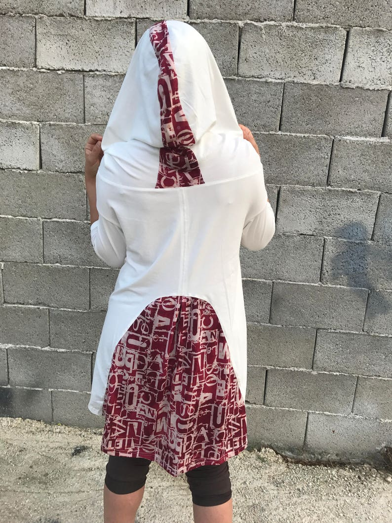Hoodie Top  Loose Tunic  Extravagant Ivory Blouse  Asymmetric Tunic