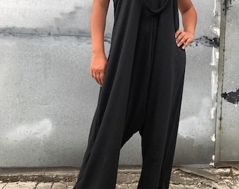 Black Jumpsuit / Loose Romper / Overall / Playsuit by JMSTYLE