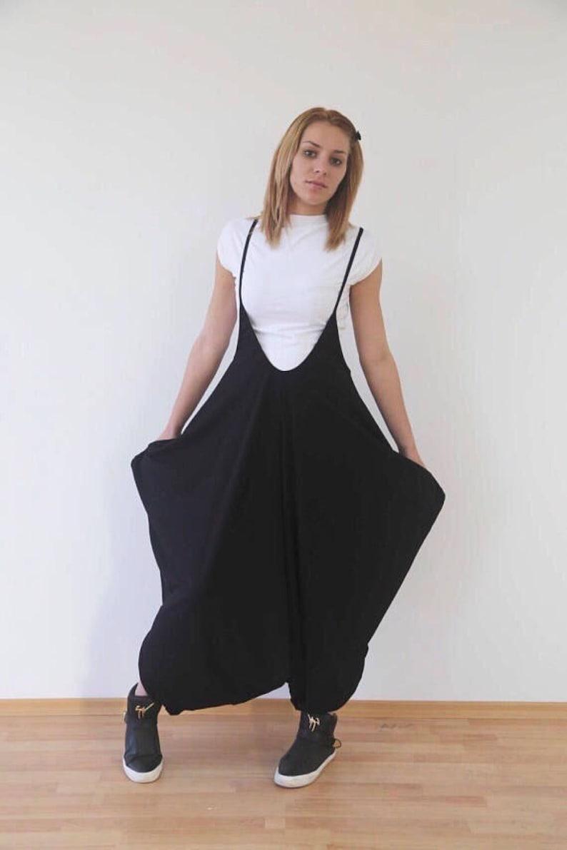 981e639ad244 Black jumpsuit loose romper overall harem onesie ii etsy jpg 794x1191 Loose  romper