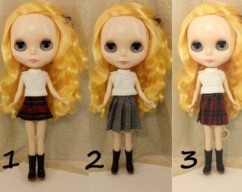 Blythe doll, Blythe skirt, school uniform, school girl, Plaid skirt