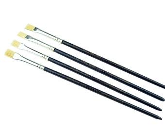 Proops 4 x Lefranc & Bourgeois Hog Bristle Oil / Acrylic Brush Size 6 Flat 6/int 3. (S7318) Free UK Postage