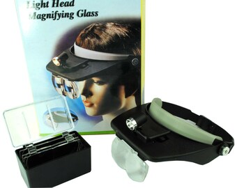 Proops Adjustable Headband Magnifier with Light and 4 Lenses 1.2x 1.8x 2.5x 3.5x. (V5097) Free UK Postage