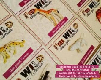 I'm WILD about you, Valentine. Purple Kids Class Toy Animal Print Valentine Cards.