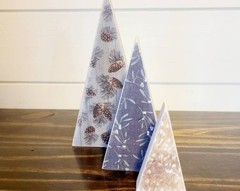 Scrappy tree, set of 3: pine cones, mistletoe, and fawn
