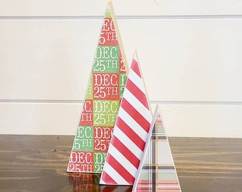 Scrappy tree, set of 3: Dec. 25, candy canes stripe, and red/green/black/gold plaid