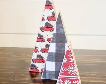 Scrappy tree, set of 3: red vintage  truck, black and white buffalo plaid,  and red aztec snowflake.