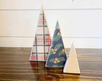 Scrappy tree, set of 3: red/green/black/gold plaid, pine, and mustard