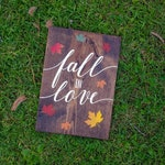 Fall in love 12x16 wood sign. Fall home decor. Autumn home decor. Fall season. Falling leaves. Espresso stained wood sign with leaves