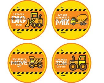 Construction Truck Class Valentine Cards. 4 Designs. You are a ton of fun. I really dig you. We are a perfect mix. You really move me.