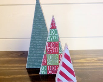 Scrappy tree, set of 3: Green Merry Christmas, Dec 25th, Candy Cane Stripe.