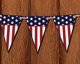 Stars and Stripes 4th of July / Independence Day Banner for instant download! Patriotic. Red white and blue. Printable.