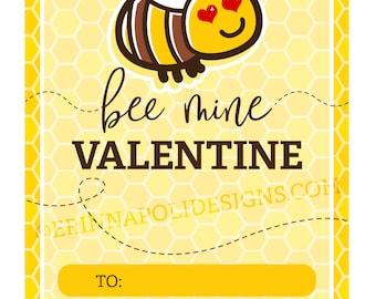 Bee Mine Valentine Printable Kids Class Valentine