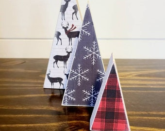 Scrappy tree, set of 3: deer, black/white snowflakes and red Buffalo plaid